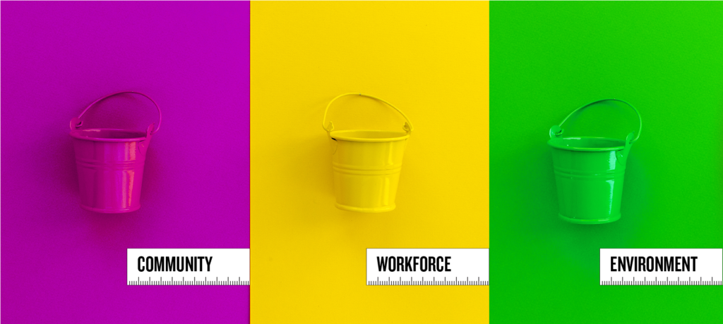 Three buckets on differently colored backgrounds. One says Community, the second says Workforce, the third says Environment.