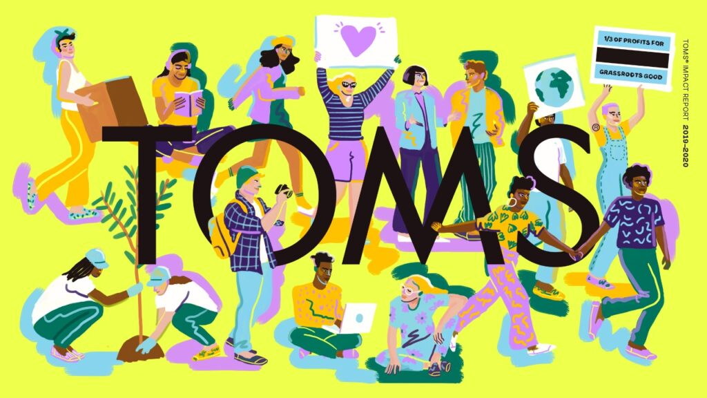 The cover of the TOMS impact report. Illustration of diverse people around the TOMS logo.