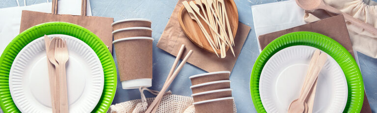 Paper plates, paper cups, and compostable utensils.