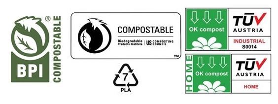 Various compostable labels for packaging.