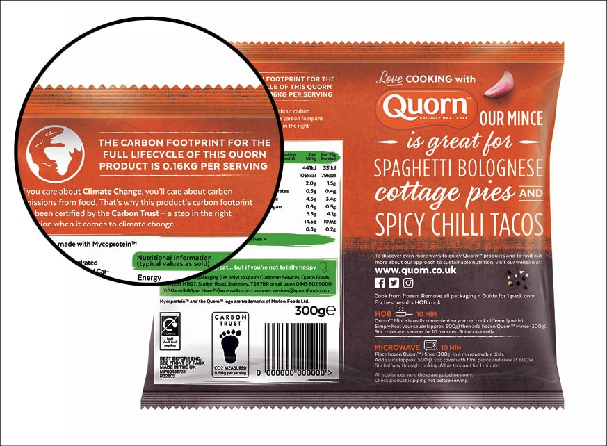 The back of a food package that indicates the carbon footprint of the full lifecycle of the product is 0.16 KG per serving.