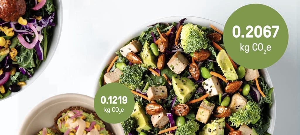 Various salads with text overlays indicating the amount of carbon that was created in the manufacturing process.