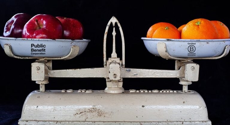 A scale with apples (labeled Public Benefit Corporation) and oranges (labeled Certified B Corporation).